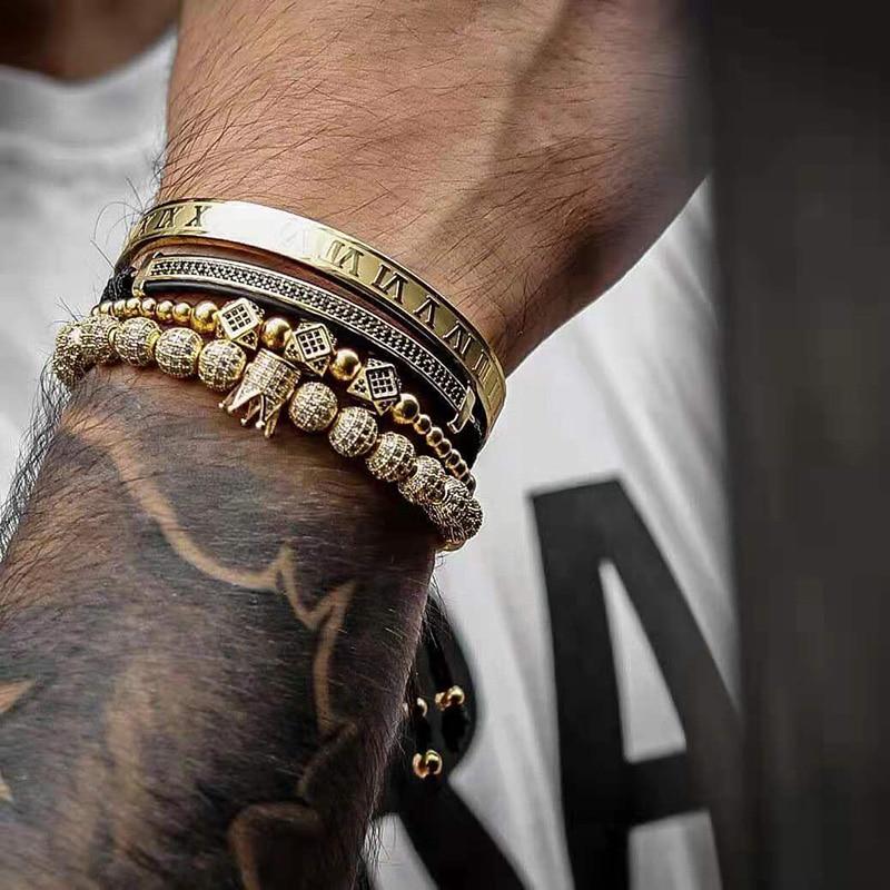 Mens Jewellery Bracelet Men Luxury Royal Bangle Set Roman Braided Bracelets For Women Fashion Armband Gold Cuff Friendship Gifts