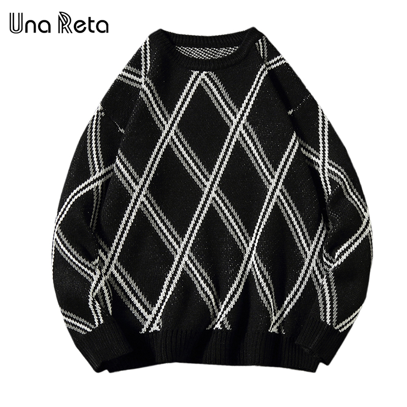 Una Reta Plus Size Men's Sweater New Autumn Winter Argyle Hip Hop Sweater Pull Homme Casual Loose Patchwork Pullover Sweater Men
