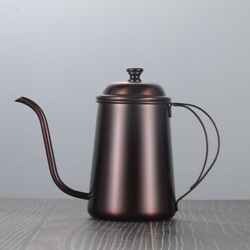 650ML Long Narrow Spout Coffee Pot Stainless Steel Hand Punch Pot  With Lid Drip Gooseneck Mounting Bracket Coffee Kettle