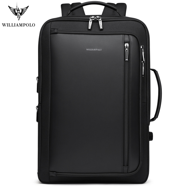WILLIAMPOLO degli uomini di Lusso zaino da viaggio Impermeabile Multifunzionale Affari anti theft zaino Carica USB notebook Borsa Da Viaggio