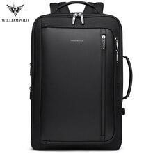 WILLIAMPOLO الرجال الفاخرة على ظهره متعددة الوظائف للماء سفر الأعمال مكافحة سرقة حقيبة USB تهمة دفتر ملاحظات للسفر حقيبة