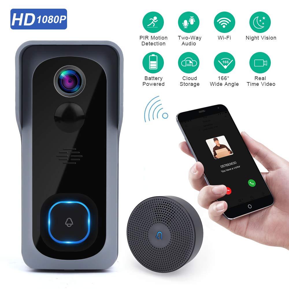Onvian wi fi campainha da câmera à prova dwaterproof água 1080 p hd vídeo campainha da porta detector de movimento inteligente sem fio com câmera visão noturna