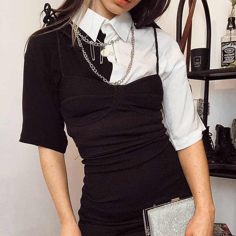 Insgoth Harajuku Losse Tops Vrouwen Zwart Wit Patchwork Shirt Streetwear Fashion Casual Tees Koreaanse Sexy Crop T-shirts