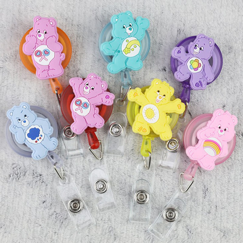 1 Pcs Cute Care Bears Retractable Badge Reel Silicone Cartoon Student Nurse ID Name Card Badge Holder Office Supplies