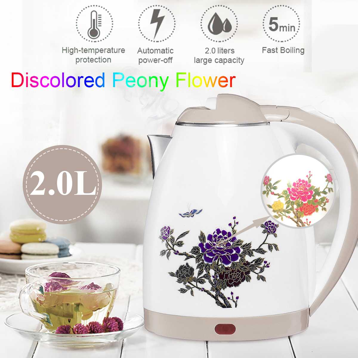 2L Double-layer Stainless Steel 220V 1800W Power 360 Degree Rotational Base Overheating Power Off Electric Water Kettles