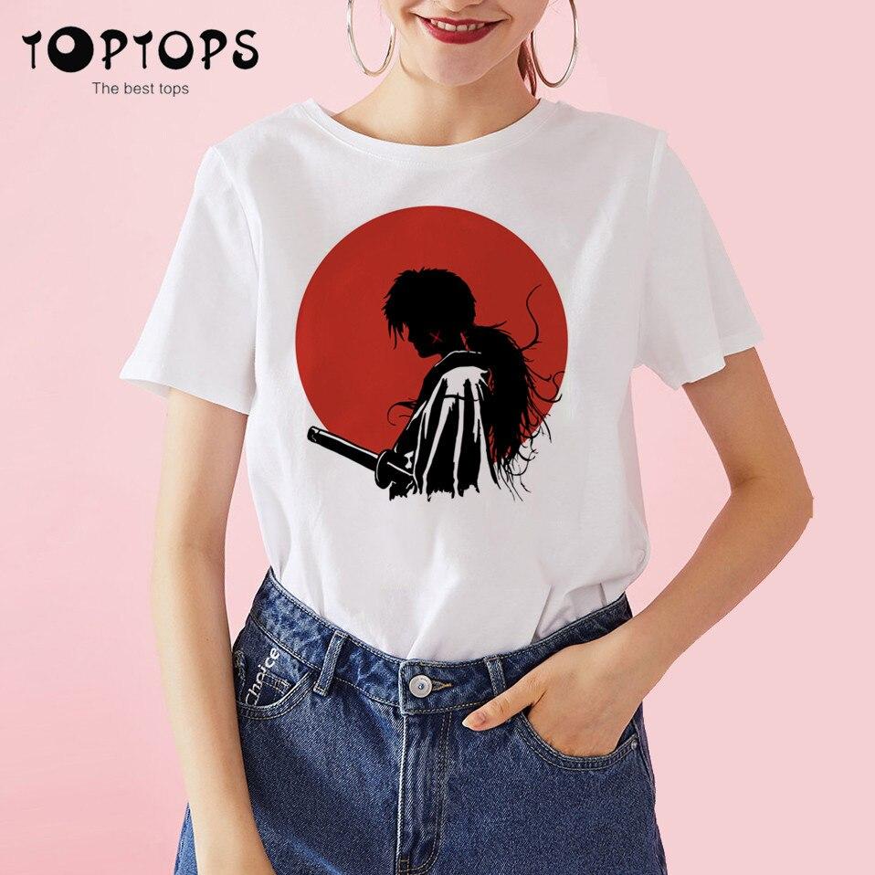 Women Rurouni Kenshin Funny Cotton T Shirt Unisex Skateboard Christmas Tshirt Female Girl Clothes Streewear Shirt