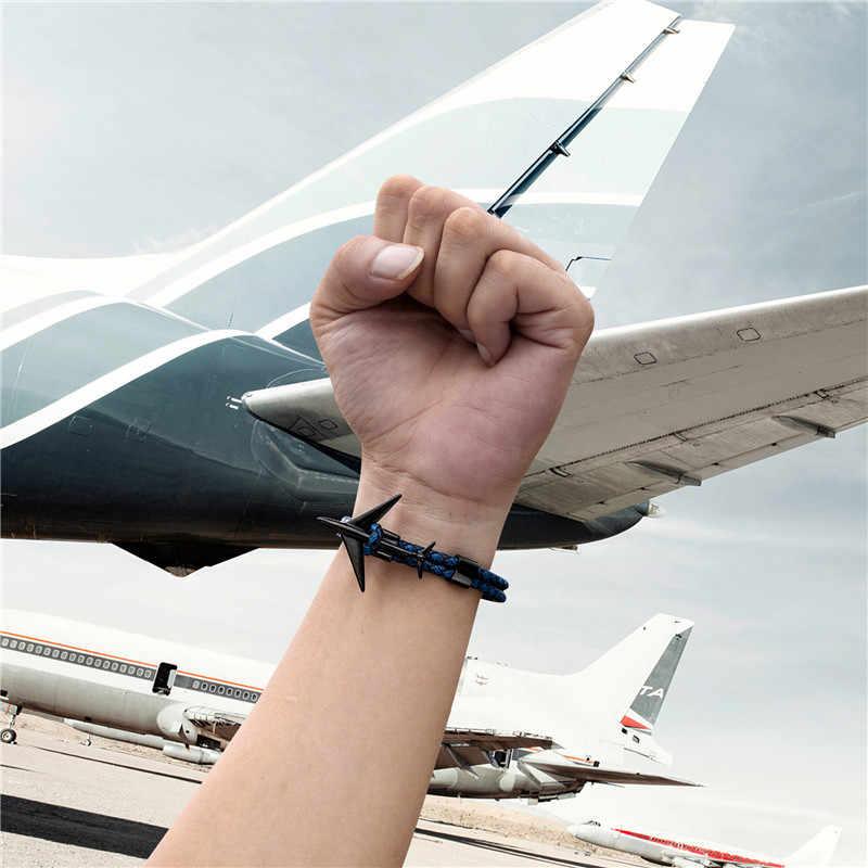 MKENDN Fashion Retro Leather Bracelet Stainless Steel Airplane Anchor Bracelets Men Women Summer Style Wrap Metal Sport Hook