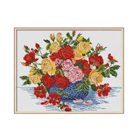 Roses In Blue Vase Cross Stitch Diamond Painting Full Square Diamond Embroidery Icons Picture of Rhinestones Mosaic Home Decor