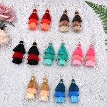 BTWGL 2019 New Bohemian Ladies Long Tassel Earrings Multi-Layer Exaggerated Boho Retro Pendant Jewelry
