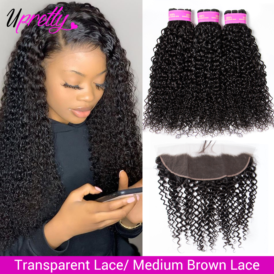 Upretty Kinky-Curly-Bundles Closure Frontal Human-Hair Lace Transparent Brazilian  title=
