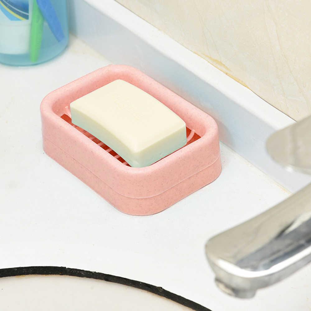 Podwójna warstwa z tworzywa sztucznego mydelniczka drenaż mydło uchwyt skrzynki prysznic Soapdish antypoślizgowe narzędzie do spuszczania naczyń drenaż mydło Box