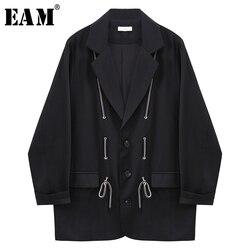 [EAM]  Women Black Bandage Split Big Size Blazer New Lapel Long Sleeve Loose Fit  Jacket Fashion Tide Spring Autumn 2020 1X138