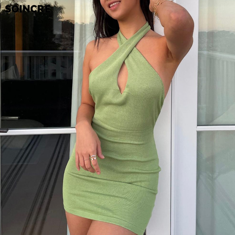 Women Dresses Summer Sexy High Waist Slimming Open Back Cross Halter Dress Green Sleeveless Backless Party Sexy Dresses Beach