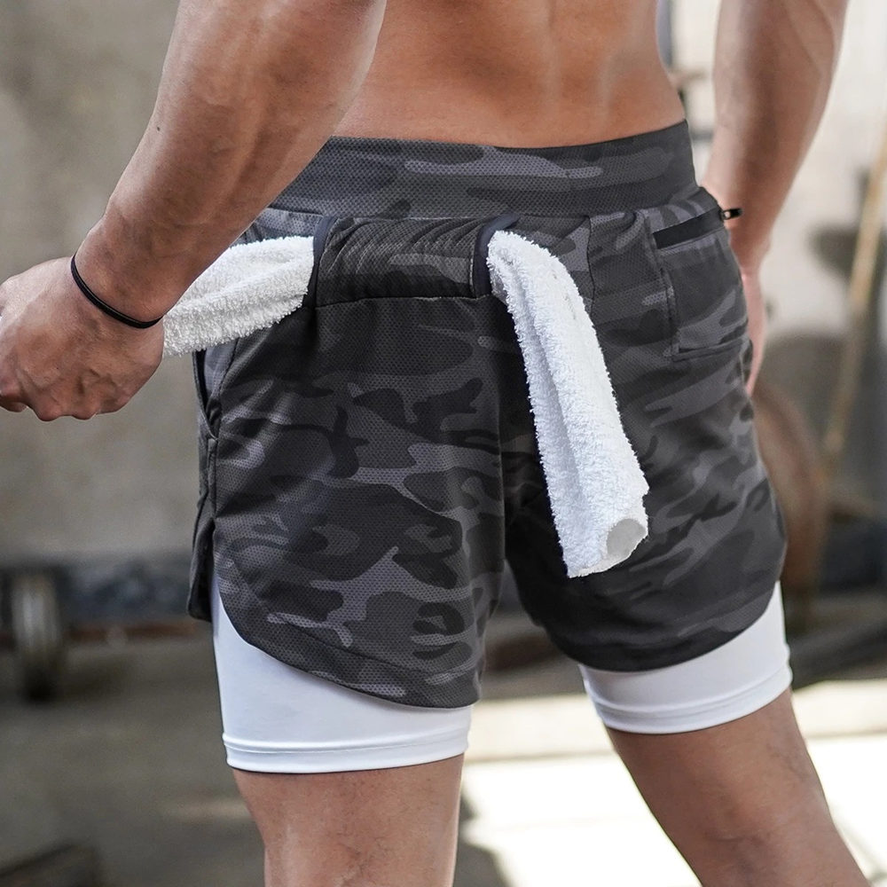 New Double Layer Running Sport Shorts Men Gym Fitness Short Pants Summer Quick Dry Bermuda Male Beach Shorts Breechcloth Bottoms