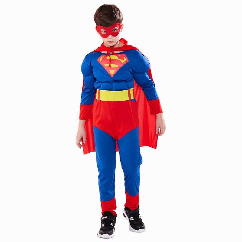 Crianças Traje de Super-heróis Cosplay Meninos Capitão América Superman Spiderman Batman Homem De Ferro Hulk Thor Flash Traje Cosplay Dia Das Bruxas