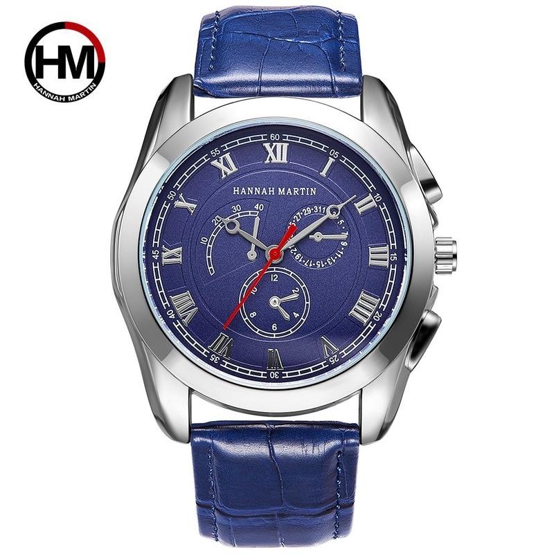 2019 Luxury Brand Hannah Martin Roman Digital Waterproof Belt Men's Watch Japanese Quartz Men Watch Leather Creative Male Clock