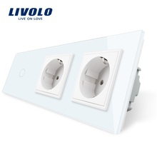 Livolo EU Standard,Touch Switch, AC 220~250V,Crystal Glass Outlet Panel, 2Gang Wall Sockets with New Power Socket ,Free Shipping