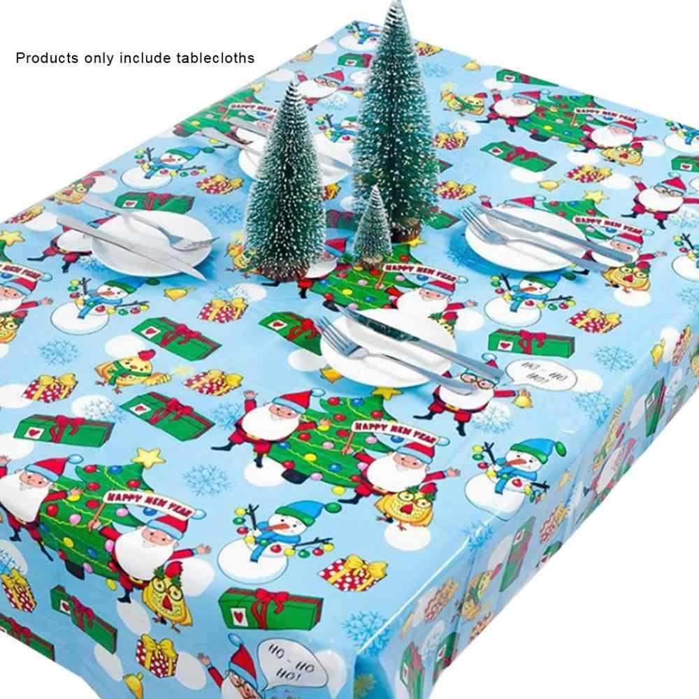 Mantel de Navidad de 110x180cm para fiesta y cena, mantel estampado de Año Nuevo, mantel rectangular de PVC, funda para Decoración de mesa de Navidad 1 Uds.