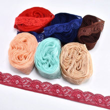 10yards/Lot Elastic lace ribbon 24mm African fabric white trim Embroidery DIY Sewing Trimming cloth wedding decoration