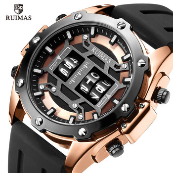 RUIMAS Digital Quartz Watch Men Top Brand Luxury Waterproof Wristwatch Male Silicone Strap Military Relogio Masculino Clock 553 - discount item  50% OFF Men's Watches