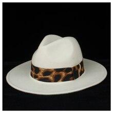 Шерсть аутентичная Женская Белая Шляпа Fedora Элегантная Леди широкий джазования с полями шляпа Осенняя мягкая фетровая шляпа королева женская шляпа размер 56-58 см