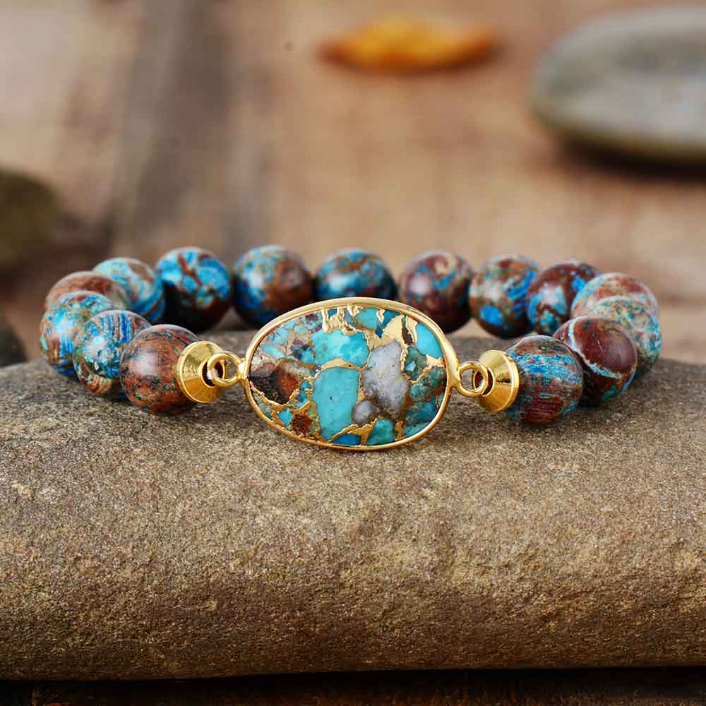 Men Punk Bracelet 10mm Bronzite Stone Tibetan Beads Women Stretchy Bracelets Yoga Mala Elastic Charm Bracelets Jewelry