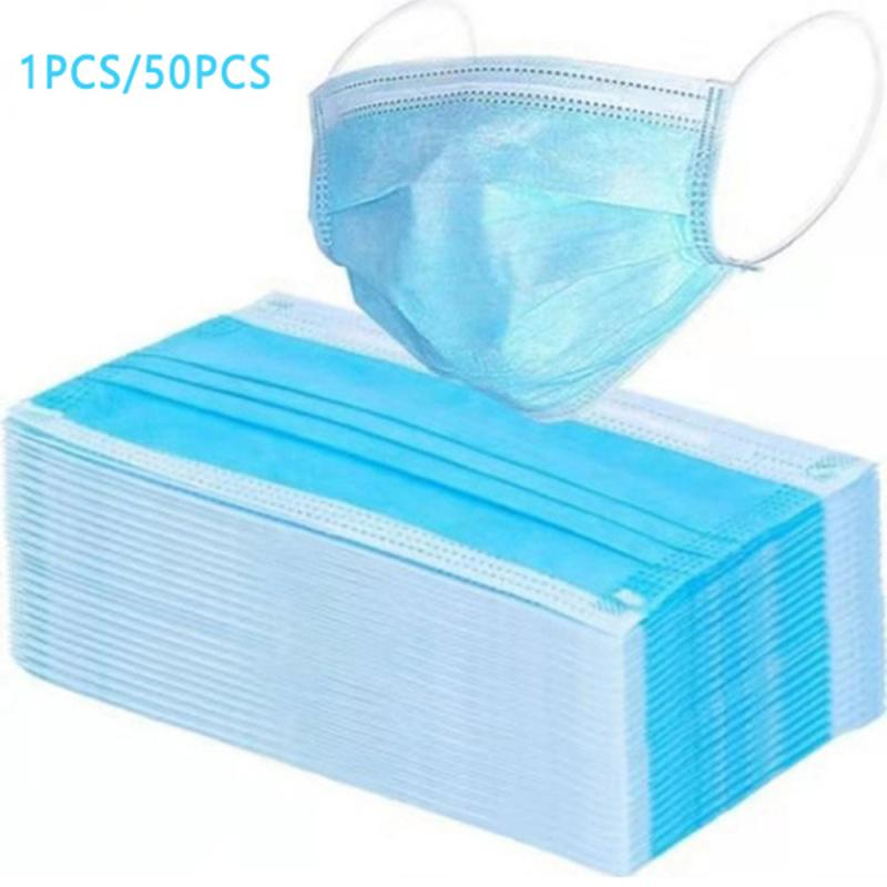 1/50pcs Disposable Mouth Mask Antibacterial 3 Layers Non-woven Dust Filter Mouth Cover Ear Loop Antiviral Protective Mask