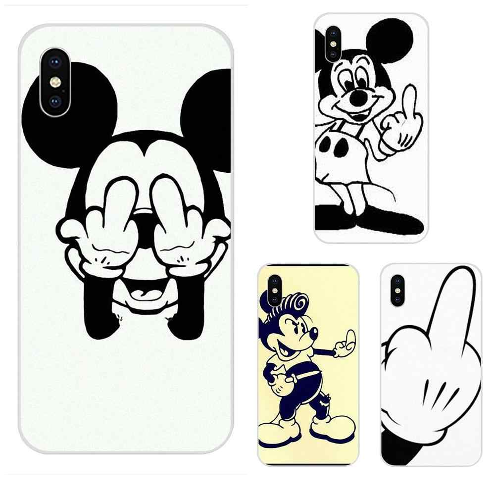 Wood Bad Mickey Mouse Middle Finger For LG K50 Q6 Q7 Q8 Q60 X Power 2 3 Nexus 5 5X V10 V20 V30 V40 Q Stylus Soft Silica Gel