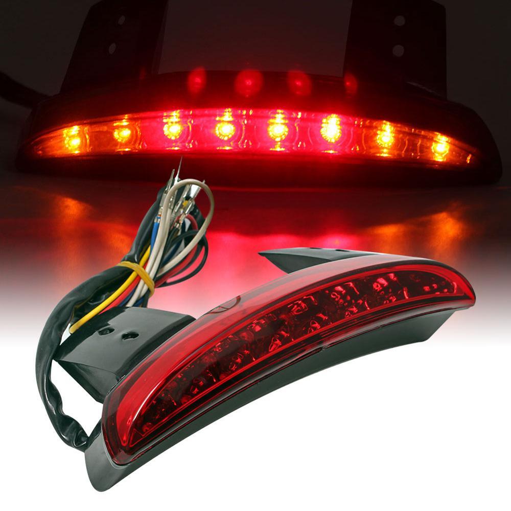 Black Red Edge Cut LED Brake Turn Signal Indicator Light Harley Dyna Sportster
