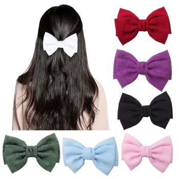 2020 Fashion Vintage 2 layers Bow Barrettes Linen Hair Clips Girls Hairgrips Ponytail Clips For Women Hairpins Hair Accessories cotton linen fabric bows boutique hair bow clips sailor bow hair barrettes hairgrips baby girls women hair accessories headwear