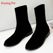 Mid-Calf Boots Krazing-Pot Stretch Low-Heels Thick Women Microfiber Slip-On L01 Customer