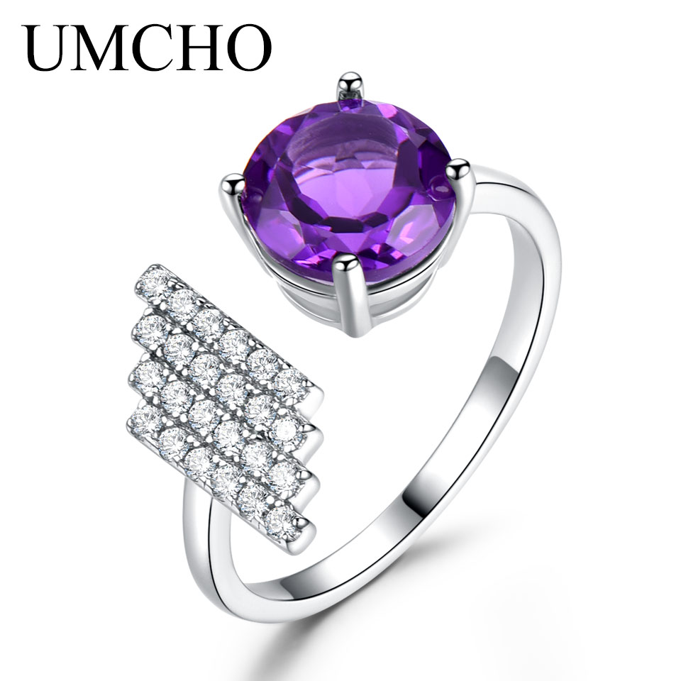 UMCHO Natural Amethyst Gemstone Rings For Women 925 Sterling Silver Elegant Engagement Wedding Rings For Women Fine Jewelry