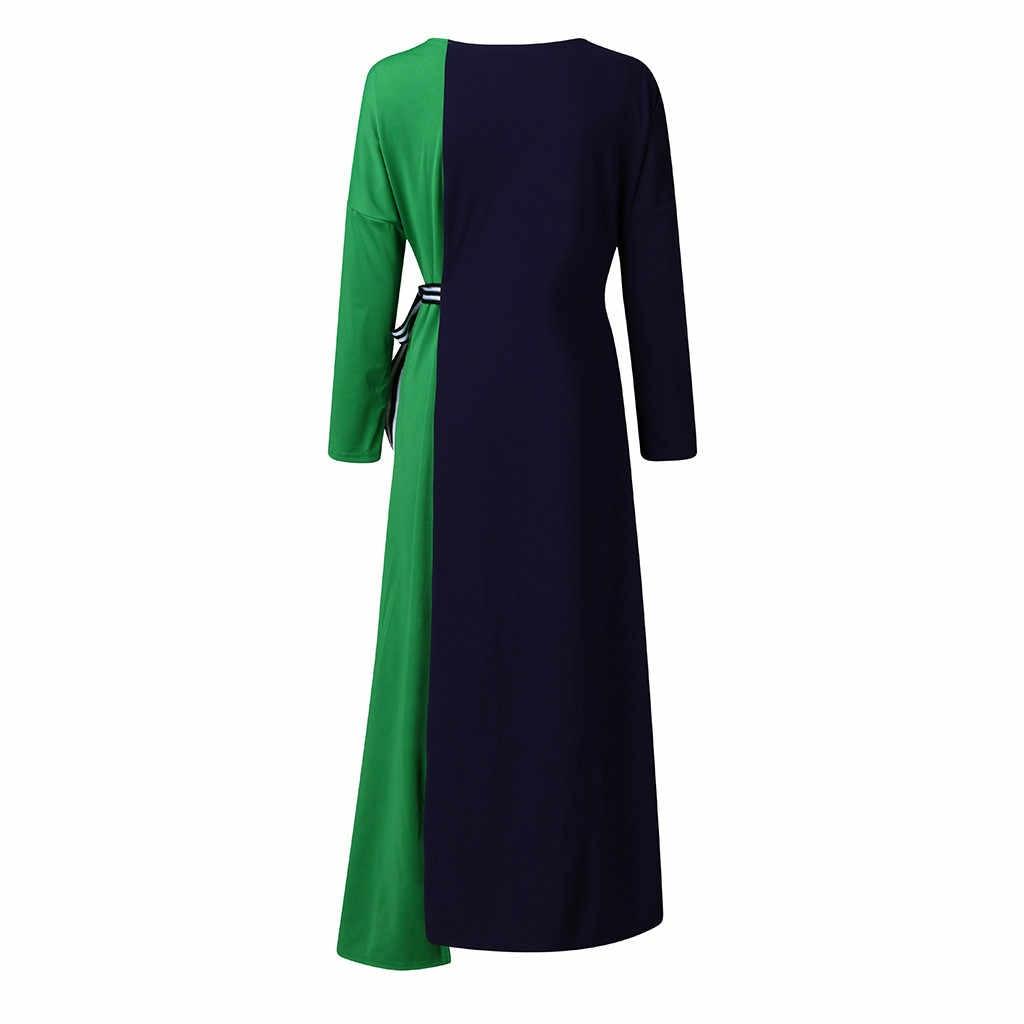 Vestido sexy feminino novo o-neck splice sólido bandagem cintura alta manga longa vintage solto vestido moda elegante festa # a