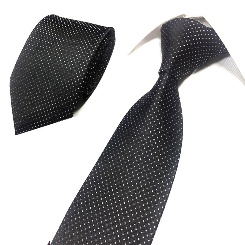 Luxury Polyester Jacquard Soild Stripe Ties For Men Neckties For Wedding Business 8cm Skinny Wide Neck Ties Slim Accessories