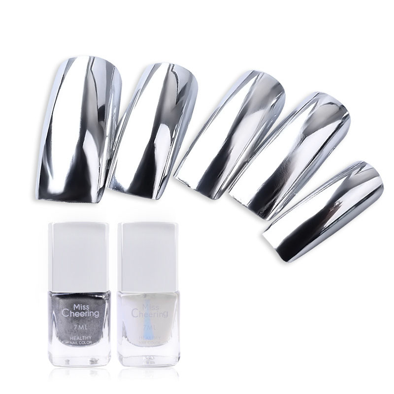 Hot Long Lasting Individuality Metal Color Mirror Effect Plating Silver Paste Removeable 7ML Nail Polish Accessories