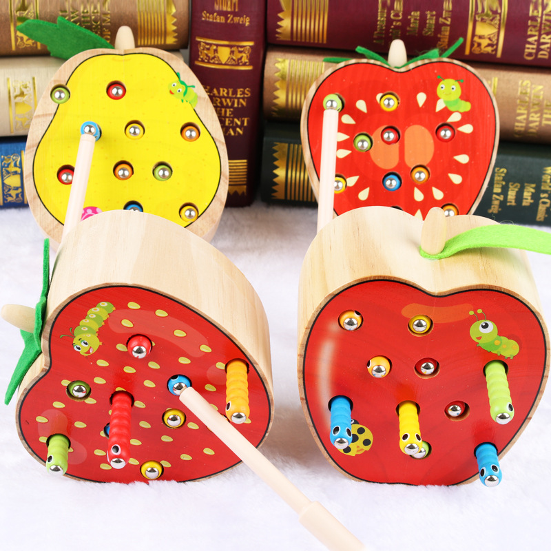 3D Cognitive Strawberry Grasping Ability Wooden Toys Education Puzzl Early Catch Worm Game Toys