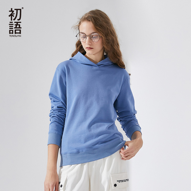 Toyouth 2020 New Arrival Spring Fashion Women Ins Women Casual Pullover Hoodie Solid Color Slim Hoodie For Female Girl