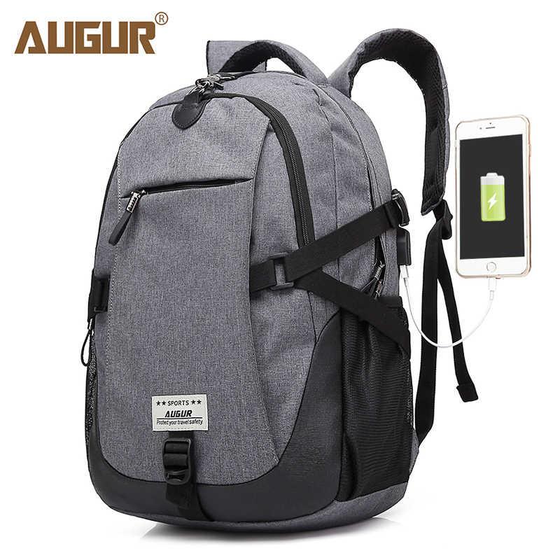 AUGUR Laptop Travel Backpacks USB Charging Port School Bags Waterproof Large Capacity Back Pack For Teenagers Mochila Feminina