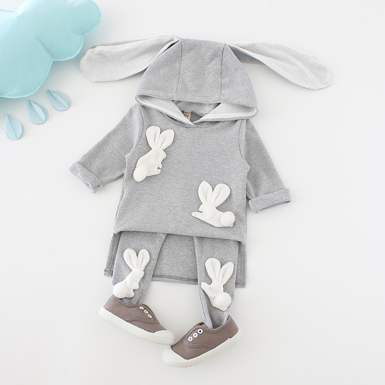 Infant Autumn Spring Autumn Toddler Baby Girls Clothes Sets Comfortable Leisure Rabbit Ears Hooded Pullover Tops+Pants 2pcs