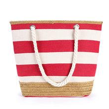 купить Black blue red striped women tote bag street leisure shopping or school carrying cotton bag handbag zipper closure по цене 1139.14 рублей