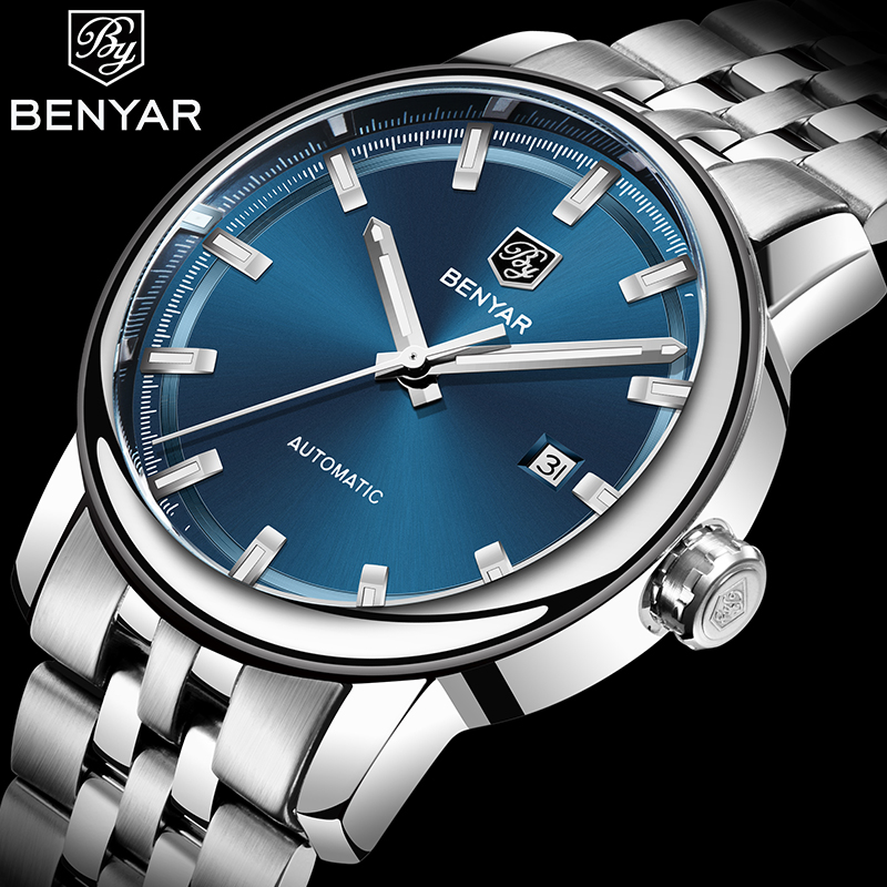 BENYAR Top Luxury Clock Men Watch Automatic Mechanical Waterproof Style Business Watches Mens Wristwatch Relogio Masculino 2019 title=