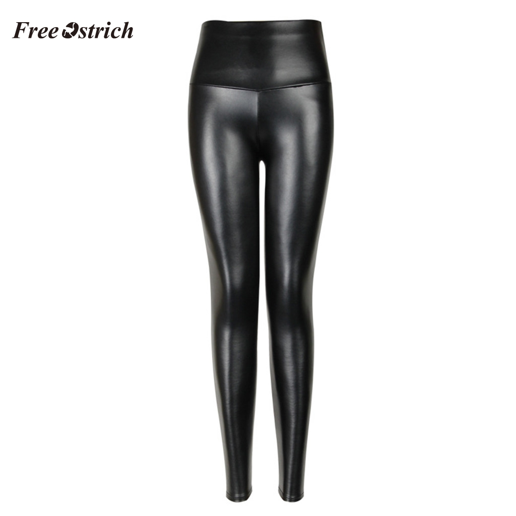 Free Ostrich Fashion Women Ladies High Waist Stretch-Fit Faux Leather Shaper Slimming Large Elasticity Pants PU Leather Leggings