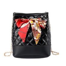 цена Women's Bag Chain Scarf Decorative Shoulder Bag Embossed Rhombic Crossbody Bag 2019 New Luxury Designer Handbag в интернет-магазинах