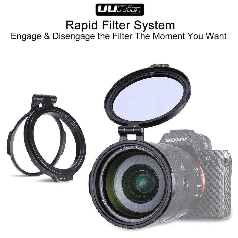 Système de filtre rapide UURig fixation rapide interrupteur de fixation de lentille 77 82 67 MM pour Sony Canon Nikon accessoires pour appareil photo reflex numérique