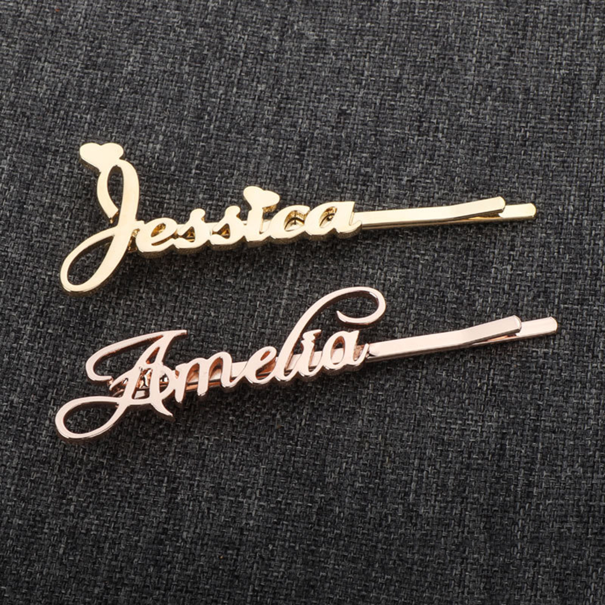 lovty Stainless Steel Silver & Gold Colors Personalised Letter Hair Pin Hairpins Accessories For Women Private Custom Jewelry