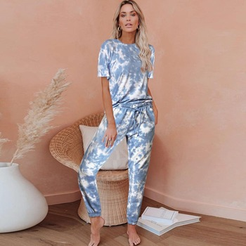 Two Piece Set Women Pants And Top Suit Tie Dye Tracksuit Ropa De Mujer Summer Clothes Lounge Wear Outfit Fashion Femme Clothing fashion print casual top shorts two piece suit tie dye set women clothes loose summer clothing pajama set