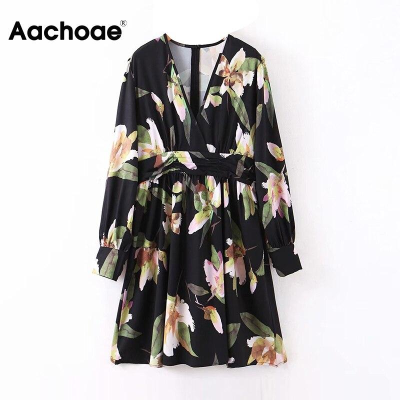 Aachoae V Neck Floral Print Dress Women 2020 Long Sleeve Vintage Pleated Dress Female Loose Bohemian Beach Sundress Ropa Mujer