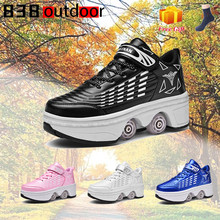 Deformation Roller Shoes Sneakers Parkour Wheel Shoes 4 Wheels Rounds Of Running Shoes Roller Skates Shoes Sneakers Size 34-43
