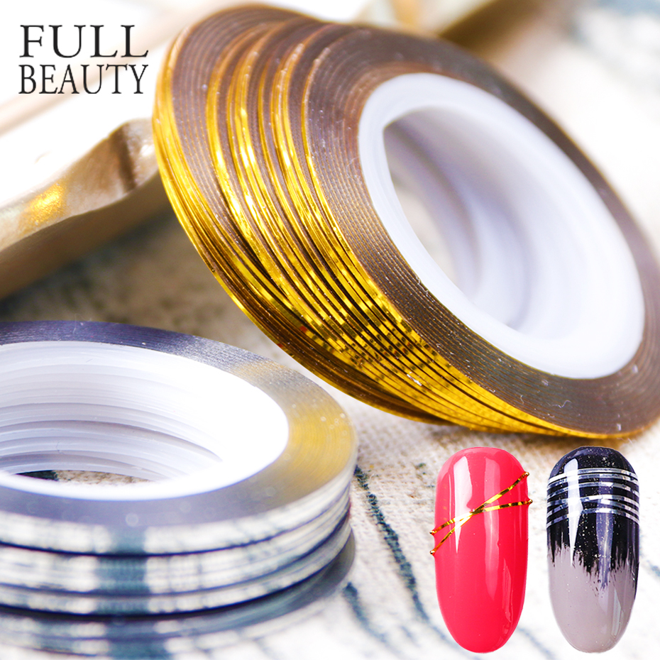 0.5mm Gold Silver Striping Tape Line Stickers For Nails Curve Shining Laser Stripe Line Nail Art Decoration Gel Acrylic CH1009-1