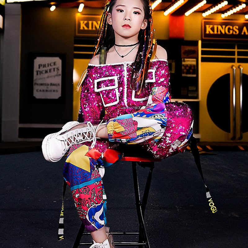2 pièces/ensemble filles Jazz danse Costume brillant Hip Hop vêtements enfants Sequin sans bretelles à manches longues Costumes de rue DL4788